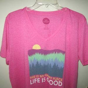Life is Good V Neck Cool Tee